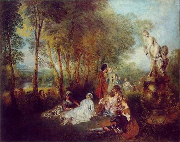 Painting by Jean-Antoine Watteau: The Pleasures of Love (1719)
