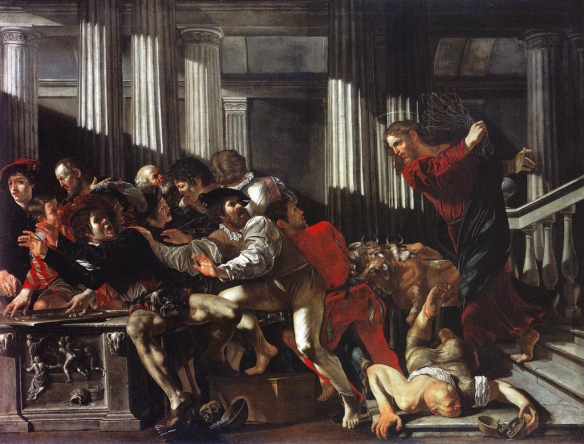 Painting by Francesco Boneri: Christ Drives the Money-lenders out of the Temple (c. 1610)