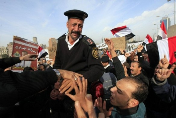 Egyptian policeman receives a warm welcome