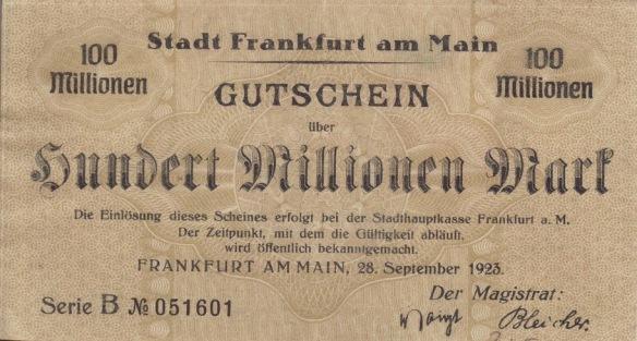 100 Million Deutschmark note, 1923
