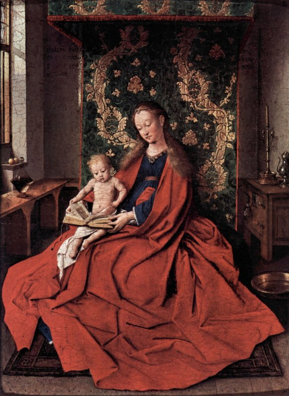 Madonna and child reading by Jan Van Eyck (1433)