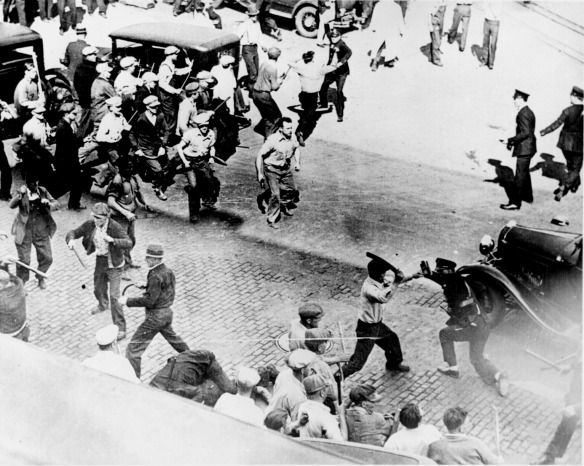 Teamsters and police clash in a 1934 Minneapolis strike