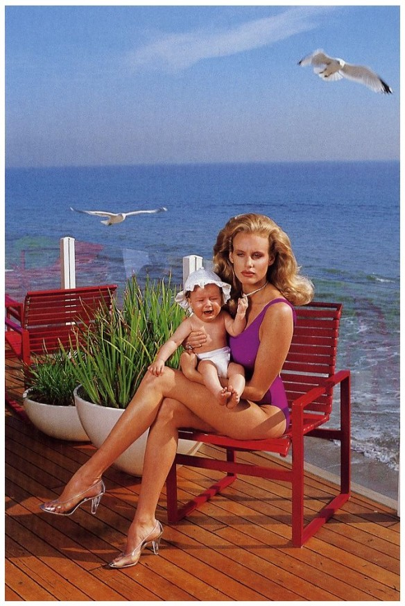 Daryl Hannah with unidentified baby, Los Angeles 1984