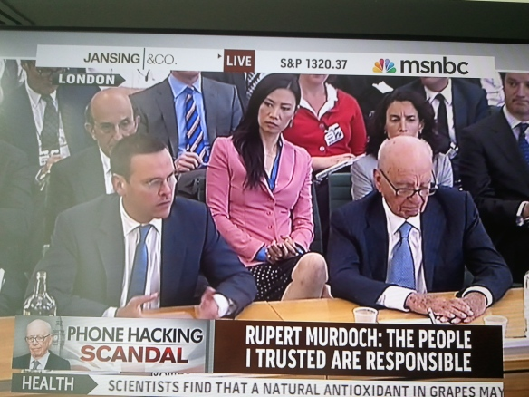 James Murdoch and Rupert Murdoch testify before the British Parliament,