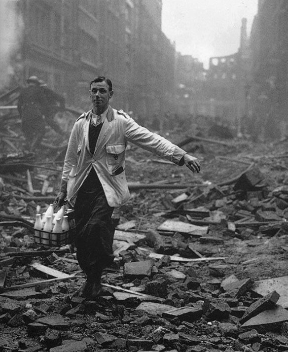 A milkman goes to work during the London Blitz, 1940