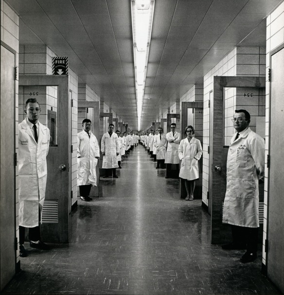 Doctors line the hall of a New Jersey laboratory, 1966