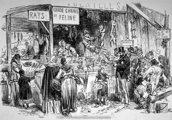 A rat, cat, and dog meat market in Paris during the siege of 1870-1871.