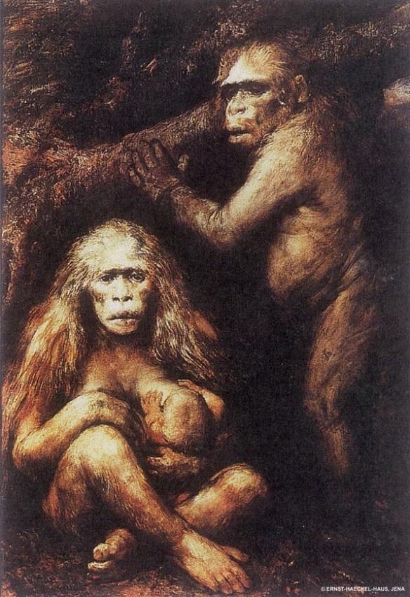 Painting by Gabriel von Max: Pithecanthropus europaeaus alalus (c. 1894)