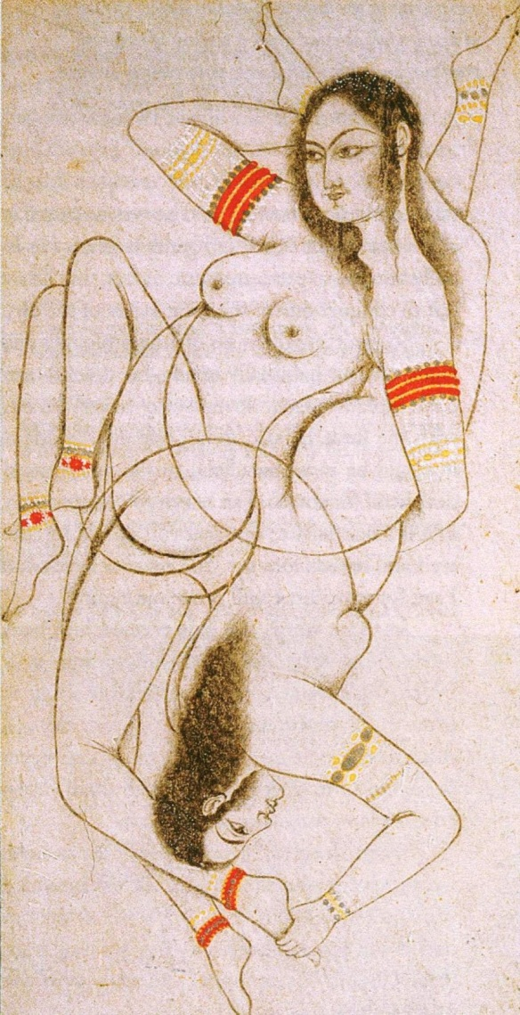 Women intertwined, Moghul India, eighteenth century
