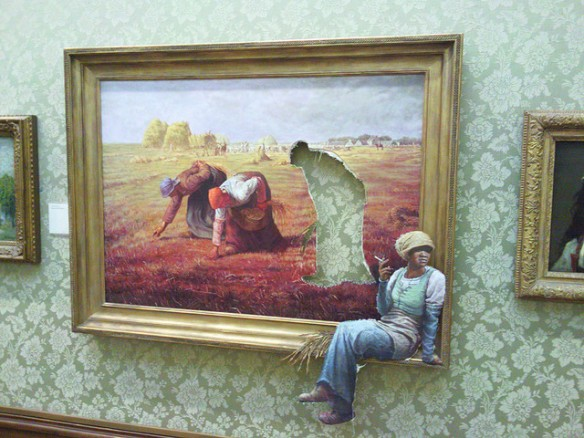 One of Millet's gleaners takes a smoke break