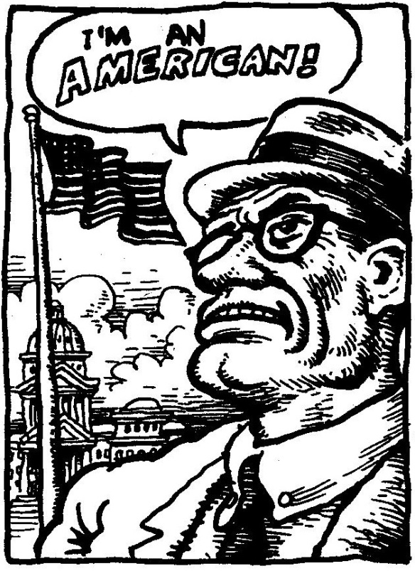 "Illustration by R. Crumb: ""I'm an American!"": Whiteman, from Zap Comix No. 1 (1967)"