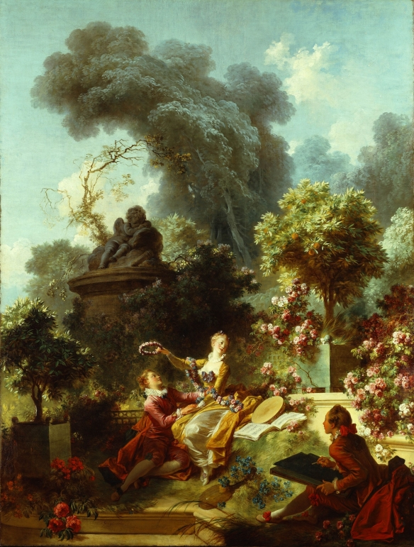 Painting by Jean Honoré Fragonard: The Lover Crowned, c. 1772, from series The Progress of Love
