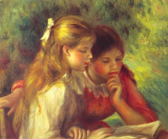 Painting by Auguste Renoir: Reading (c. 1890-95)