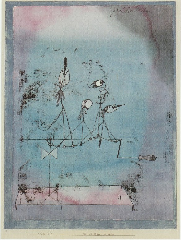 Painting by Paul Klee: Twittering Machine (1922)