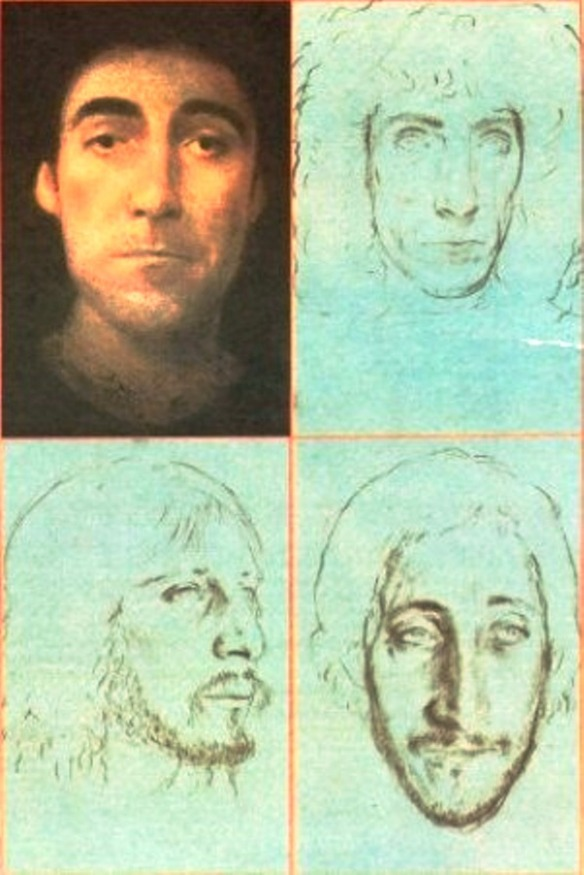Illustration by John Collier: From a review of the Who's album Who Are You, Rolling Stone, 19 October 1978. Drummer Keith Moon (upper left) died shortly after the album's release.