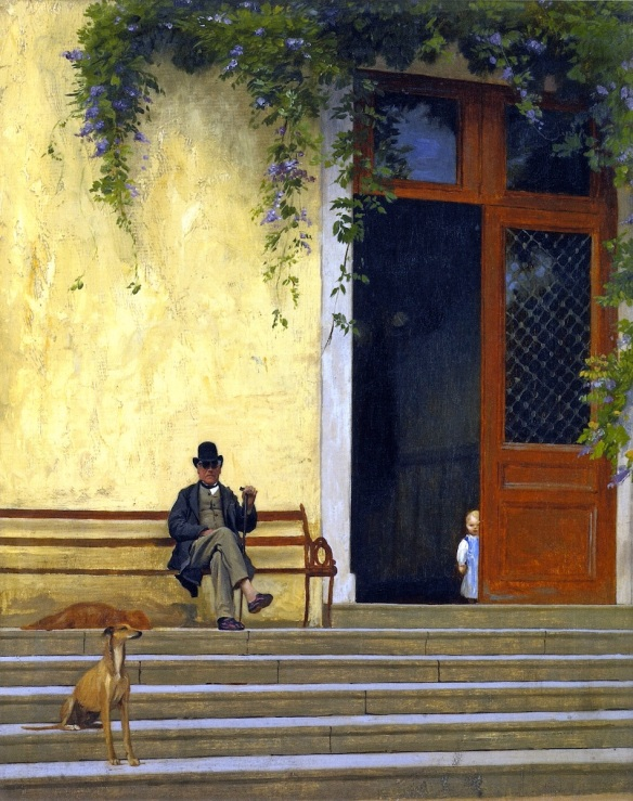Painting by Jean-Léon Gérôme: The Artist's Father and Son on the Doorstep of His House (c. 1866)