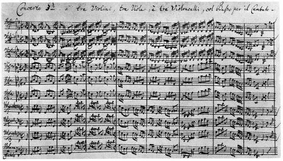 Photo: Manuscript of first page of J.S. Bach's Brandenburg Concerto No. 3 (1721)