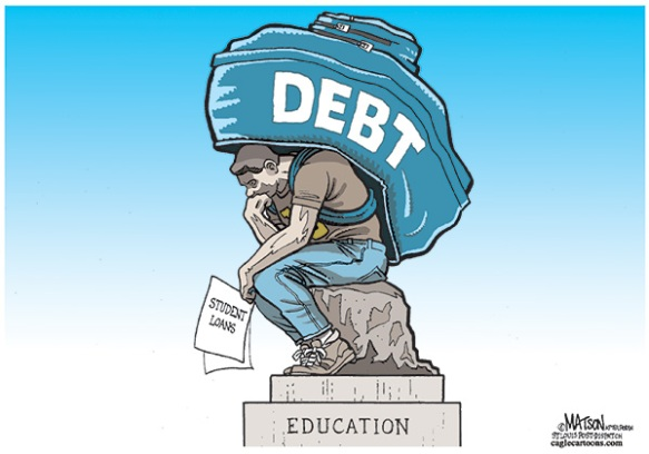 Cartoon by R. J. Matson: Weighed Down by Massive Student Debt