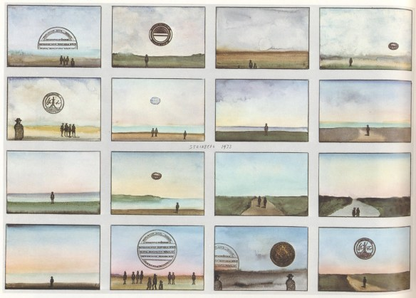 Illustration by Saul Steinberg: 16 Postcards, 1973
