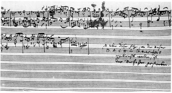 J.S. Bach's The Art of Fugue breaks off abruptly during Contrapunctus XIV due to his death.