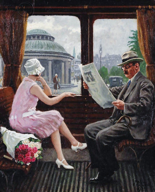 Painting by Paul Gustave Fischer: In the Train Compartment (1927)