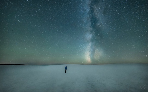 Self-portrait of photographer Ben Canales (and the Milky Way) on Oregon's South Sister volcano (2012)