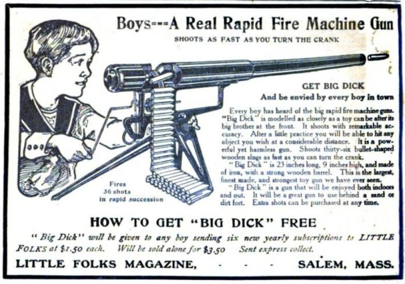 Ad for toy machine gun, Little Folks Magazine, December 1918